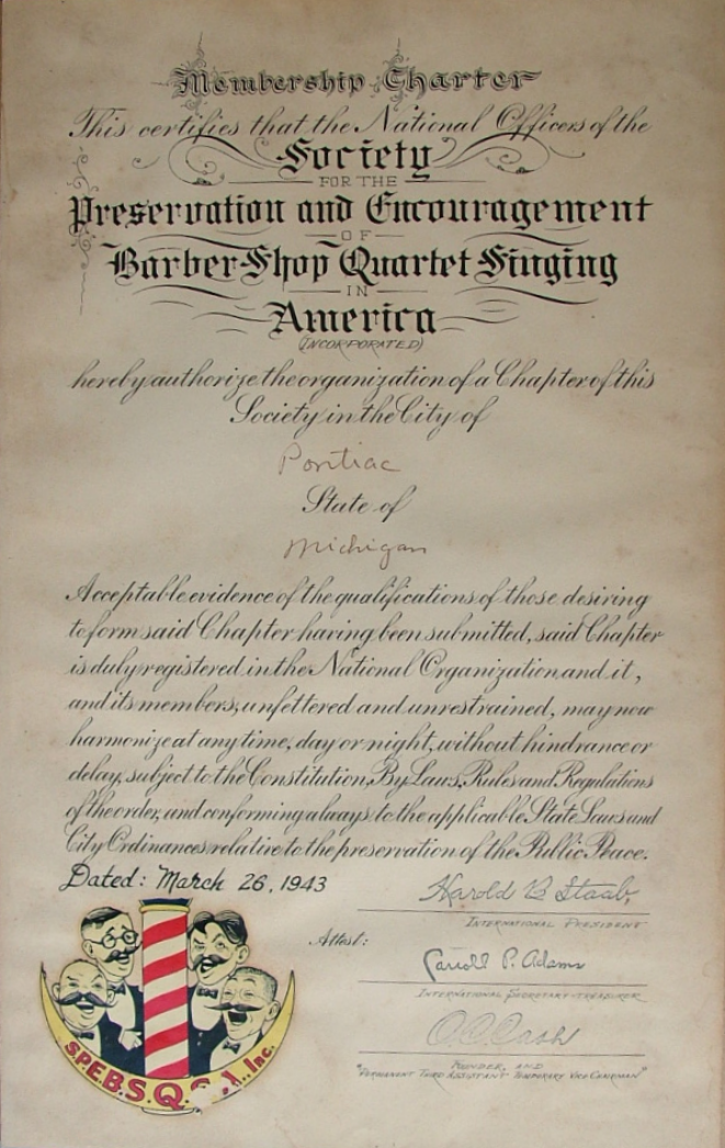 The original signed 1943 charter that started the Pontiac Waterford Pontiac Chapter